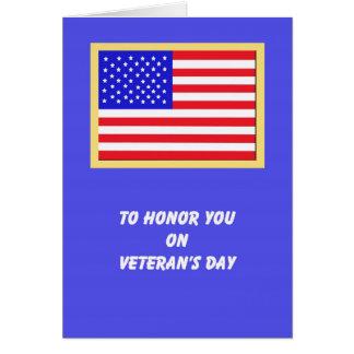 Tarjetas del día de veteranos de la bandera americ