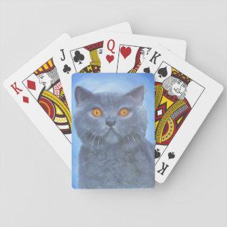 Tarjetas del gatito naipes