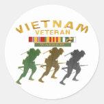 Tarjetas del guerrero del veterano de Vietnam, Pegatina Redonda