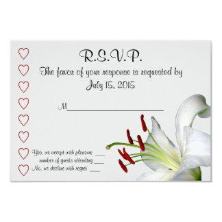 Tarjetas del lirio, blancas y rojas de RSVP Invitación 8,9 X 12,7 Cm