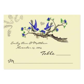 Tarjetas del lugar de la tabla del azul real y del tarjetas de visita grandes