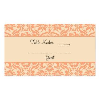 Tarjetas del lugar de la tabla del boda del damasc tarjeta de visita