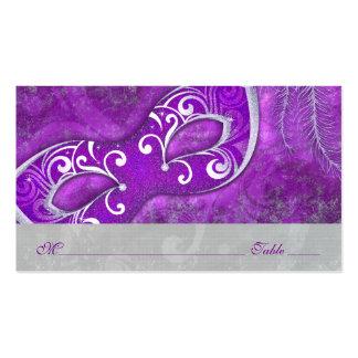 Tarjetas del lugar de PurpleWedding de la máscara Tarjetas De Visita