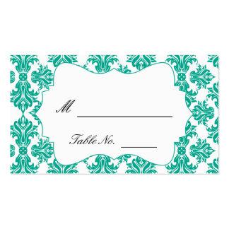 Tarjetas del lugar del boda del damasco del verde tarjetas de visita