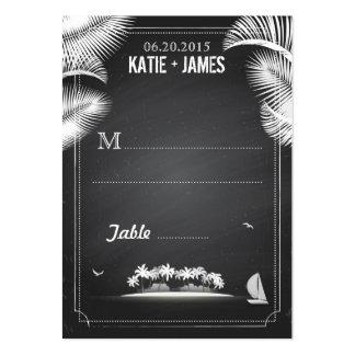 Tarjetas del lugar del boda del destino de la isla tarjetas de visita grandes