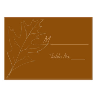 Tarjetas del lugar del boda del otoño de la hoja d tarjeta de negocio
