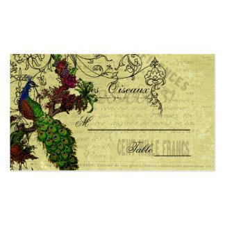 Tarjetas del lugar del boda del pavo real del vint plantillas de tarjetas de visita