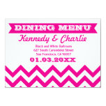 Tarjetas del menú del boda de Chevron Invitación 11,4 X 15,8 Cm