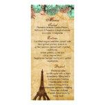 tarjetas del menú del boda de París de la torre Plantilla De Lona