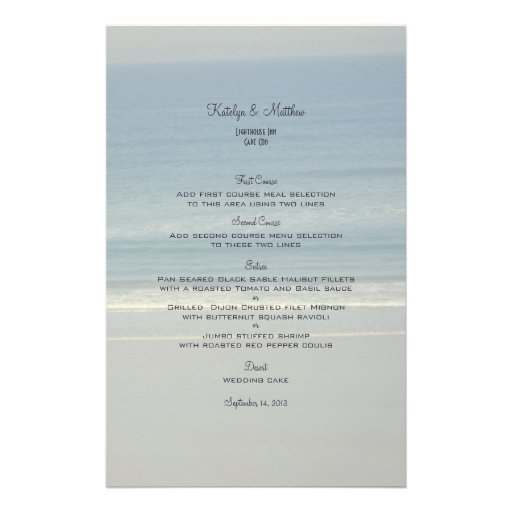 Tarjetas del menú del boda del amor del océano papelería de diseño