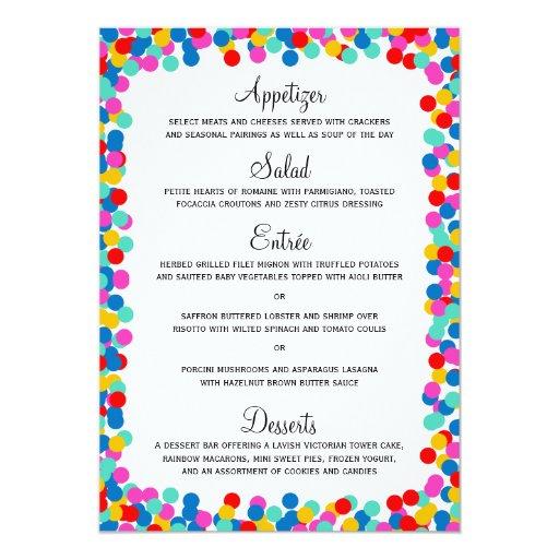 Tarjetas del menú del boda del confeti anuncio