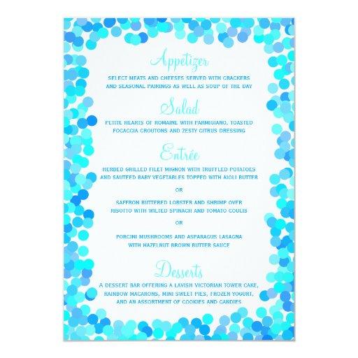 Tarjetas del menú del boda del confeti comunicados personales