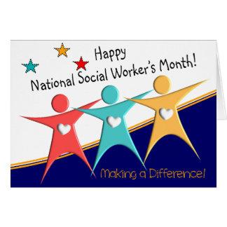 Tarjetas del mes del asistente social feliz