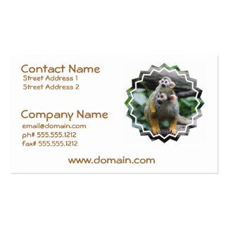 Tarjetas del negocio familiar del mono de ardilla plantilla de tarjeta personal