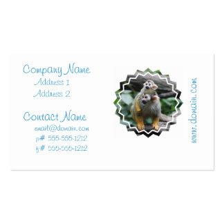 Tarjetas del negocio familiar del mono de ardilla plantilla de tarjeta de visita