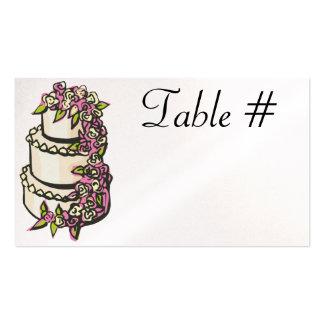 Tarjetas del número de la tabla de la recepción - tarjetas de visita