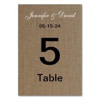 Tarjetas del número de la tabla del boda de la mir