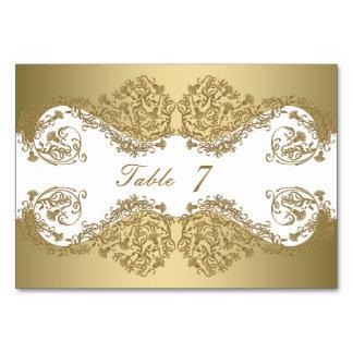 Tarjetas del número de la tabla del boda - oro del
