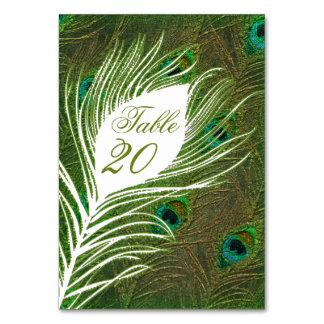 Tarjetas del número de la tabla del boda - plumas