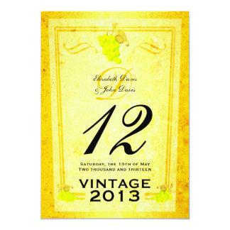 """Tarjetas del número de la tabla del vino blanco invitación 5"""" x 7"""""""