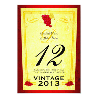 """Tarjetas del número de la tabla del vino rojo del invitación 5"""" x 7"""""""