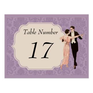 tarjetas del número de la tabla del vintage de los postales
