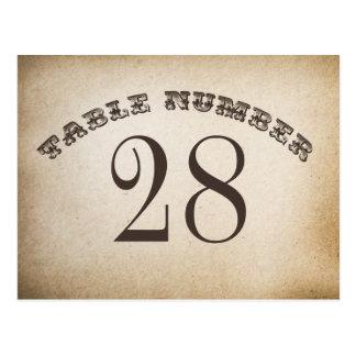 tarjetas del número de la tabla del vintage tarjeta postal