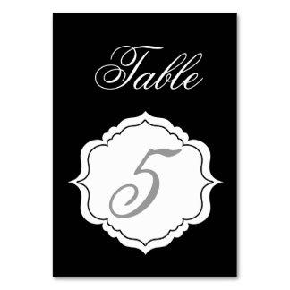 Tarjetas del número de la tabla en la recepción