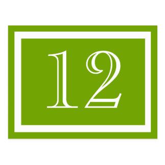 Tarjetas del número de la tabla verde de la primav tarjetas postales