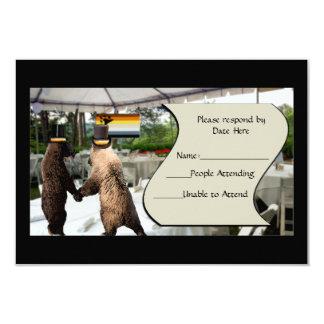 Tarjetas del oso de RSVP gay del boda o de la Invitación 8,9 X 12,7 Cm