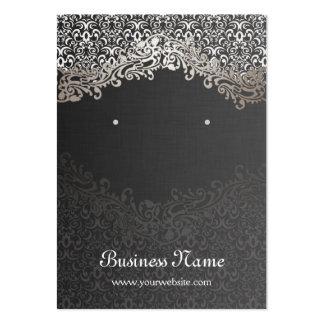 Tarjetas del pendiente del damasco de la plata del tarjetas de visita grandes