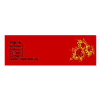 Tarjetas del perfil de los corazones del otoño tarjetas de visita mini