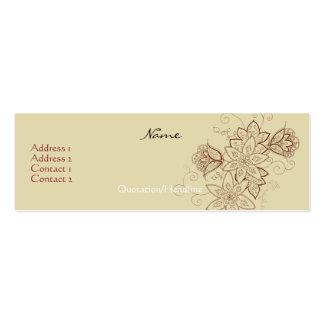 Tarjetas del perfil del tatuaje del tulipán tarjetas de visita mini