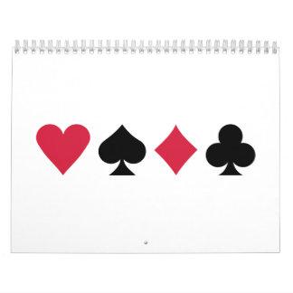 Tarjetas del póker calendario de pared
