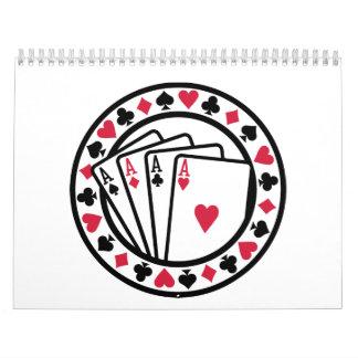 Tarjetas del póker calendarios de pared