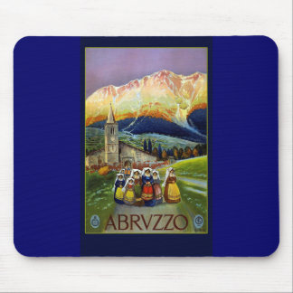 Tarjetas del poster del viaje del vintage de Abruz Tapetes De Ratón