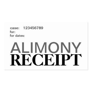 Tarjetas del recibo de la ayuda de los alimentos tarjetas de visita