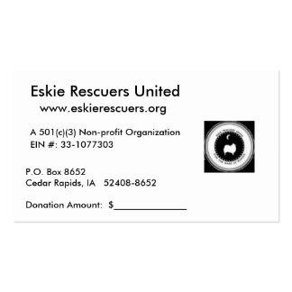Tarjetas del recibo de la donación tarjetas de visita