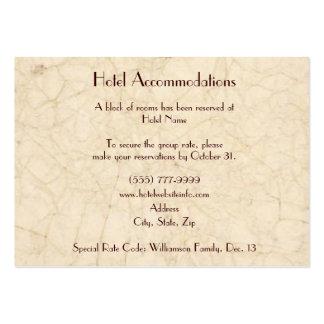 Tarjetas del recinto del alojamiento de hotel de l tarjeta de visita