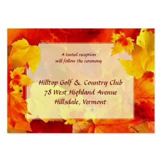 Tarjetas del recinto del boda de la caída tarjetas de visita grandes