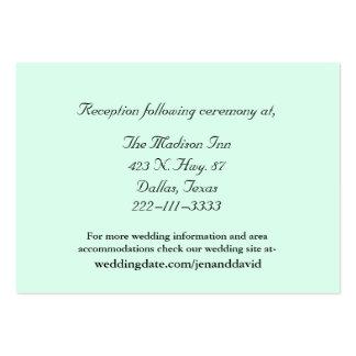 Tarjetas del recinto del boda de la verde menta tarjetas de visita grandes