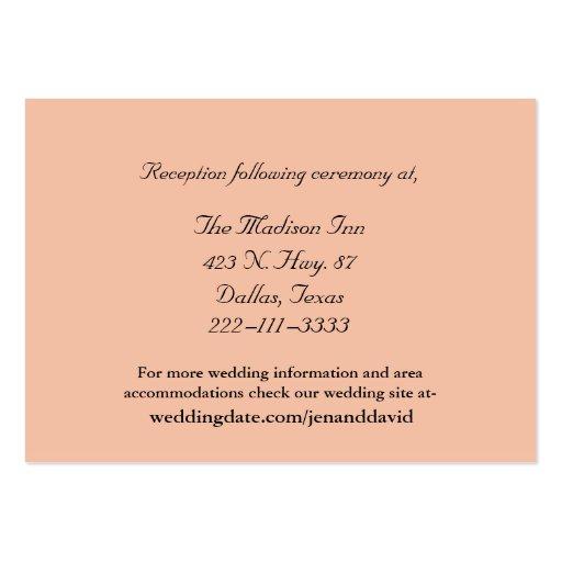 Tarjetas del recinto del boda del melocotón tarjetas de visita grandes