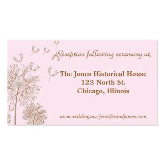 Tarjetas del recinto del boda del rosa y del tarjetas de visita