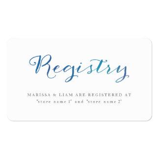 Tarjetas del registro de la acuarela del amor/azul tarjetas de visita