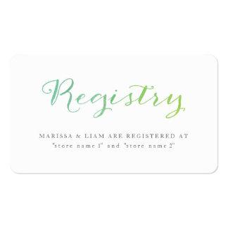 Tarjetas del registro de la acuarela del tarjetas de visita