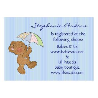 Tarjetas del registro de la ducha del oso del bebé tarjetas de visita