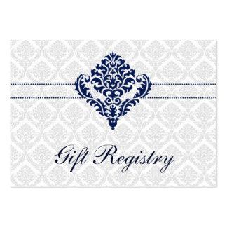 tarjetas del registro de regalos del damasco de tarjetas de visita grandes