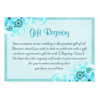 Tarjetas del registro de regalos floral azul del tarjetas de visita grandes
