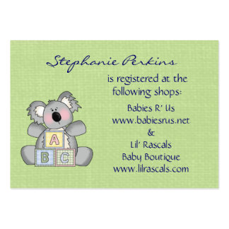 Tarjetas del registro del bebé de la koala tarjetas de visita