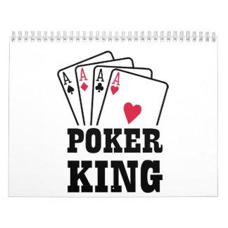 Tarjetas del rey del póker calendarios